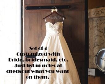 Bridesmaid gifts,  bridesmaid hangers,  wedding party hanger,  wedding dress hanger,  bridal hangers, custom hangers, set of 4