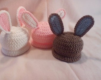 Crocheted Bunny Hats From In Sizes Newborn to 5 yrs
