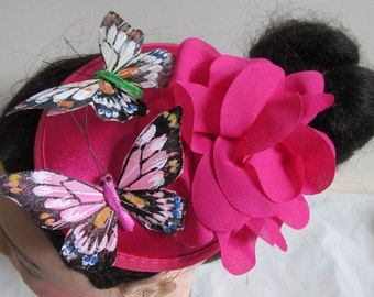 Hot pink flowers rose feather butterfly Ascot races wedding fascinator hat - Clip