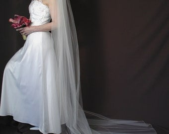 "Wedding veil, Cathedral ength 108"" long with pencil edging"