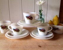 """Vintage JAJ Pyrex """"Ringtons""""Tally Ho - three trios - a gravy boat - and Milk Jug -all in excellent condition. 1960's Pyrex"""