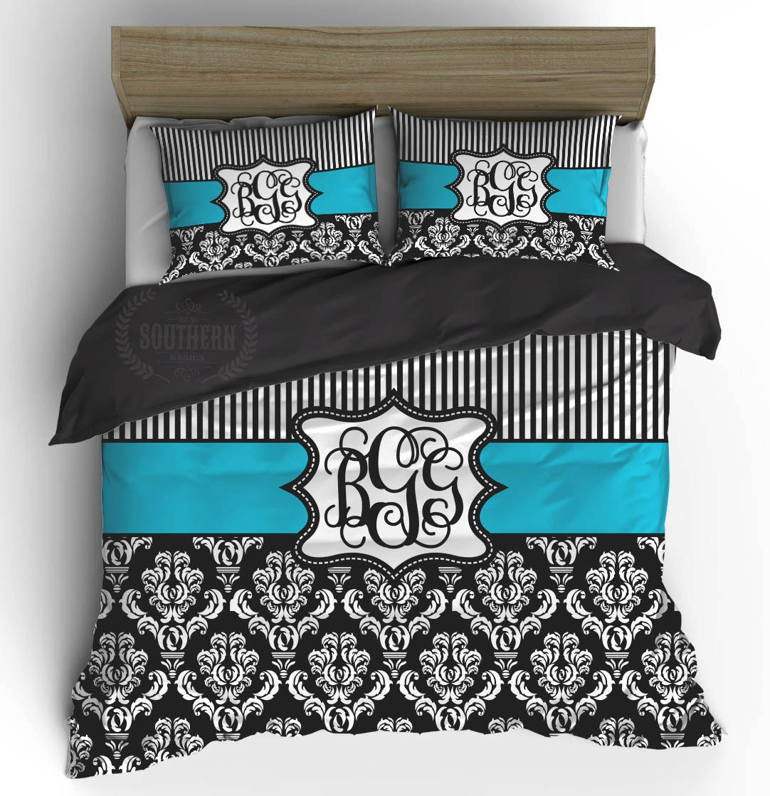 Personalized black turquoise damask comforter or duvet cover for Black and white bedding with turquoise walls
