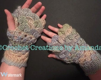 Dragon Scale Fingerless Gloves PDF Pattern, crocodile stitch gloves, arm warmers, typing gloves, fingerless mitts, mittens, finger-less