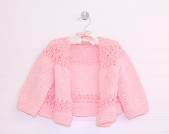 Vintage baby sweater, pink knit, size about 12 months