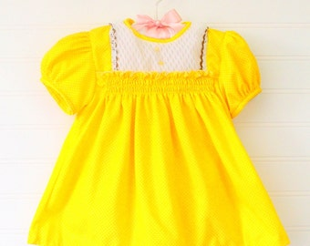 Vintage baby dress. Yellow polka-dot with smocking, Bambi for 6-9 mo WITH BLOOMERS