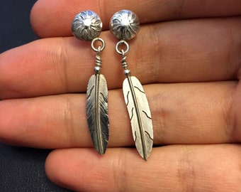 Vintage Sterling silver handmade earrings, 925 silver studs with feather drops, no stamp but silver tested