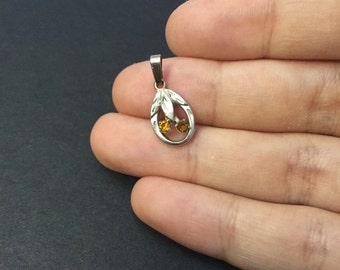 Vintage Sterling silver handmade pendant, 925 silver with orange crystal details, stamped Sterling
