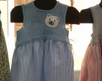 striped cotton dress with cotton bodice and white bear decoration