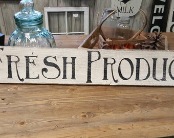 Wood Sign - Produce Sign -Hand painted Fresh Produce sign on rustic reclaimed wood.