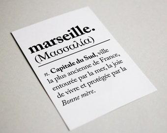 Card mailing MARSEILLE / MASSILIA Postcard