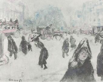PIERRE BONNARD - 'Niege' - hand signed/hand painted vintage lithograph - c1923 (Leon Werth/George Besson, Paris)