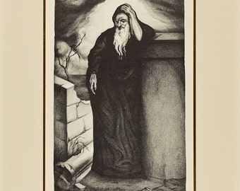 SAUL RABINO - 'Jeremiah 9.1' - hand signed lithograph - c1935 (listed 20th Century Russian artist)