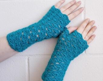Turquoise fingerless gloves, arm warmers, wrist warmers, wristers, free shipping, alpaca, crochet