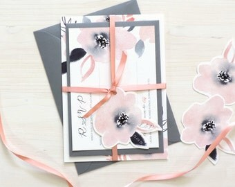 Sweet Posey Wedding Invitation and RSVP Bundle with personalised tag, Wedding Stationery, pink and grey floral invites