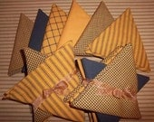 Pumpkin Spice & Black Set of 5 Fat Quarters FQ Dunroven House Homespun Fabric Ticking