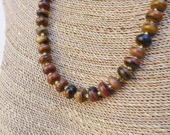 Brown Zebra Jasper and Brass Necklace