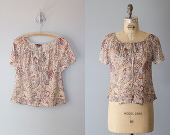 SNAP DRAGON blouse   Vintage 1970s sheer boho peasant top   Vintage bohemian top
