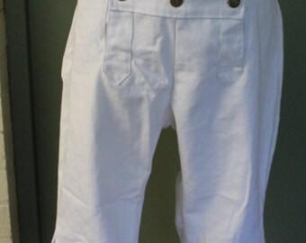 18th Century / Rev War Era Cotton Canvas Drop Front Breeches