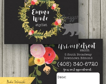 Boho Wreath Business Card