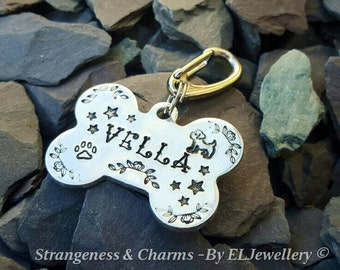 Hand Stamped Personalised 'Dog ID Tag' for collars, Dog Breeds,Bone shape, Metal, Pets, Pet Tags, Dogs Tags, Stamped, Lost Pet, For Dogs.