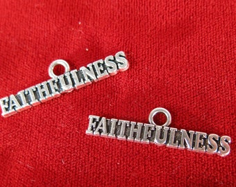 """5pc """"faithfulness"""" charms in antique silver style (BC1047)"""