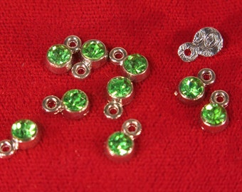 "BULK! 50pc 5mm ""green Peridot"" color charms in antique silver style (BC1108B)"