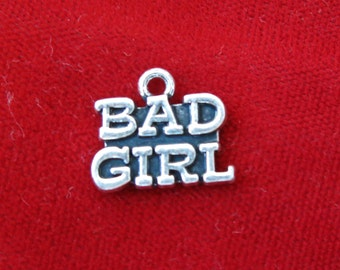 """10pc """"Bad girl"""" charms in antique silver (BC804)"""