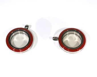 "1pc 25mm ""twist top"" red Floating Charm Locket ""Round"" in stainless steel (LC12)"