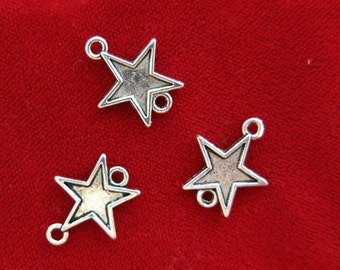 """BULK! 30pc """"star"""" connector charms in antique silver style (BC938B)"""
