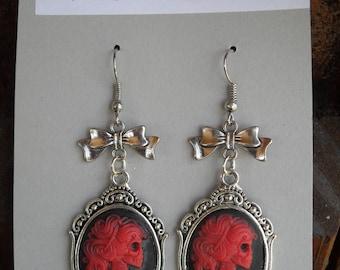 Earrings, day of the dead, Dia de Los Muertos, Lolita, skull, cameo, resin flatbacks, gothic jewelry, halloween, dangle earrings
