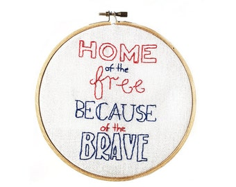 Patriotic Hoop Art - Hand Stitched Modern Embroidery Art - 6 Inch Hoop
