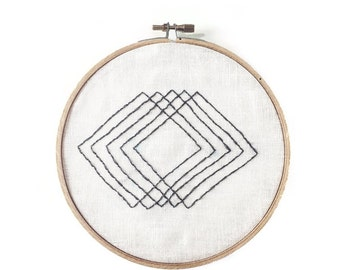 Abstract Squares Hoop Art - Hand Stitched Modern Embroidery Art - 6 Inch Hoop