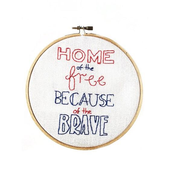 Patriotic Hoop Art - Hand Stitched Modern Embroidery Art - 6 Inch Hoop