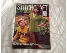 Vintage Stitchcraft Pattern Booklet Magazine, September 1964.  Knittin, Crochet, Embroidery, Rug Making, Fashion, Home
