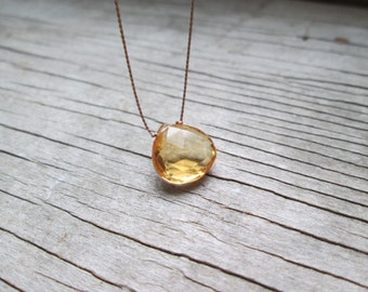 large CITRINE floating stone necklace on a fine silk cord, gemstone drop necklace, November birthstone necklace