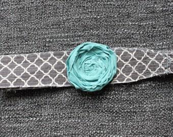 Gray quatrefoil headband w/ aqua flower