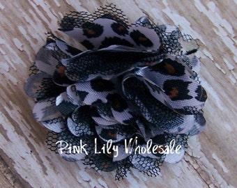 TWO Cheetah Print Mini Satin Mesh Flowers - TWO Cheetah - Small Flower - Craft Flower - Wholesale Flower - Craft Supplies -DIY