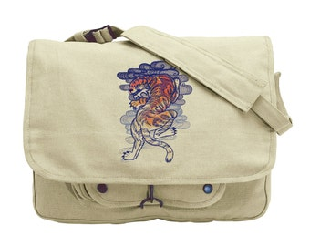 The Seven Seas - Tiger Tattoo Embroidered Canvas Messenger Bag