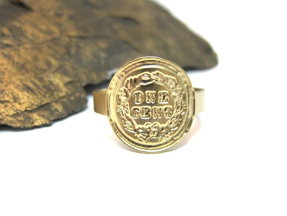 gold coin ring cent ring coin jewelry bridesmaids by