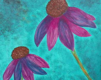 Daisy Blossom Flower Purple Pink Spring Summer Acrylic Painting Original Floral 12 x 12 Minimalist Contemporary Zen Wall Art to Hang