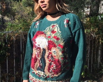 Ugly Christmas sweater, knit pullover sweater, large, green sequin sweater, Santa with tree
