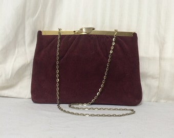 H&L USA,suede leather purse, burgundy formal purse, bags,purse, shoulder bag,converts to clutch