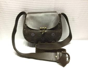 Tooled Leather purse,saddle bag purse,bag, Hippie Bag, 1970s Bag, Small,bags,purses