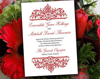 "DIY Wedding Invitation Template - Red Invitation Printable ""Cella"" Wedding Printable Word Template - Formal Invitation Wedding Download"