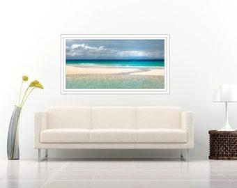 Large coastal artwork, beach large canvas, teal, large beach panorama, ocean artwork, seascape canvas, landscape panoramic, panorama, green