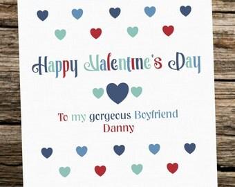 Personalised Valentine's Day Card ~ Boyfriend ~ Hearts