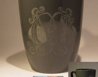 Cup / Mug  dark gray with engraved Zodiac Sign Libra