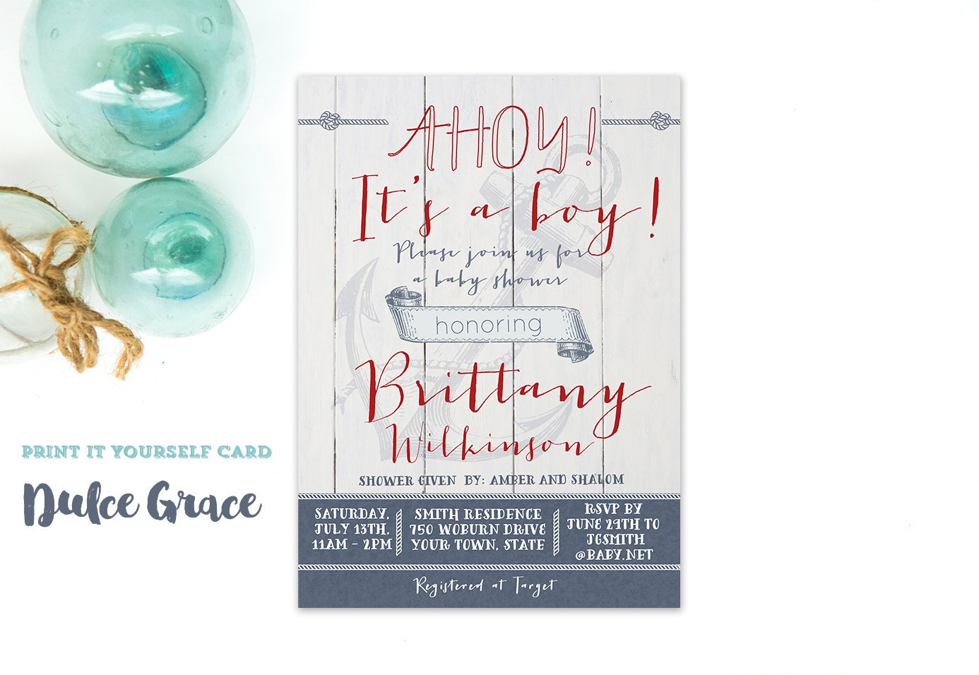 ahoy its a boy baby shower invitations red navy baby shower
