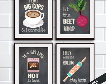 Big Cups, Beet Drop, Hot in here, Rollin (Funny Kitchen Song Series) Set of 4 Art Prints (Featured in Vintage Chalkboard) Kitchen Art