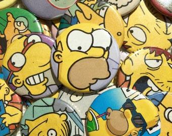 3x Random Simpson 25mm Badges